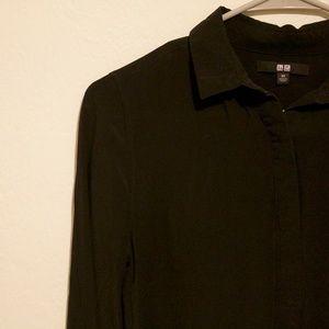 uniqlo / silk collared shirt / black